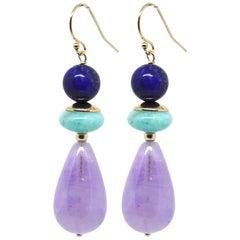 Decadent Jewels Amethyst Amazonite Lapis Lazuli Gold Earrings