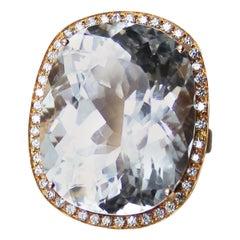 White Topaz Diamond Rose Gold Statement Ring