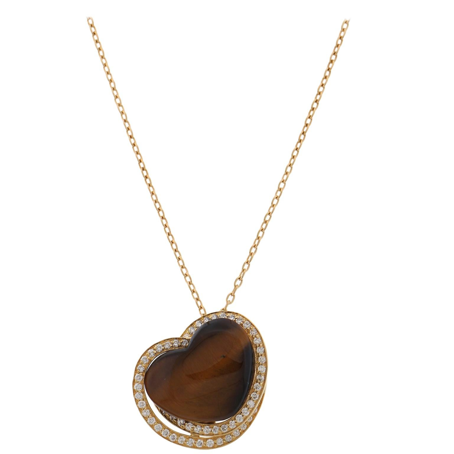 Roberto Coin Tigers Eye Heart Pendant with Diamonds