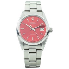 Rolex Men's Stainless Steel Precision Date Automatic Watch with Red Dial 6694