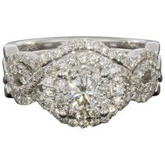 Helzberg White Gold Round Diamond Halo Engagement Ring Wedding Band Set