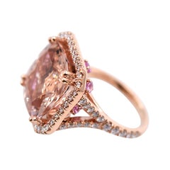 Morganite with Pink Sapphires and White Diamonds Cocktail Ring in 18 Karat Gold