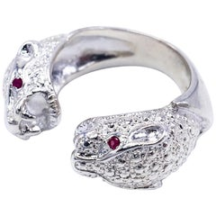 Double Head Jaguar Ruby Sterling Silver Cocktail Animal Jewelry  J Dauphin