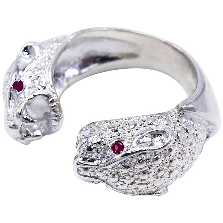 Ruby Engagement Rings For Sale: Ruby Jaguar Engagement Ring Silver J DAUPHIN For Sale At