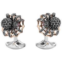 Deakin & Francis Sterling Silver Black Spinel Spider Cufflinks