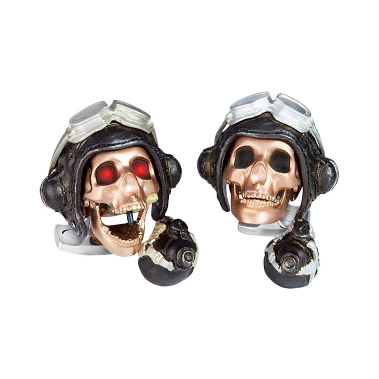 Deakin & Francis Limited Edition LED Pilot Skull Cufflinks For Sale