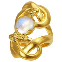 Sylvie Corbelin Unique Double Snake Ring with Moonstone in Gold and Silver