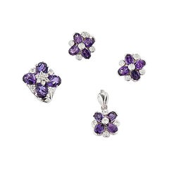 Amethyst Set Earrings, Pendants and Ring in Silver