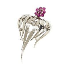 Rubies and Diamonds Brooch Pendant, 18 Karat White Gold