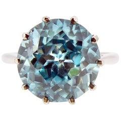 Vintage Blue Zircon Ring, 6.70 Carat Solitaire, White Gold, circa 1960s