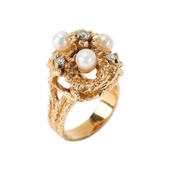 Ladies Gold Ring with Pearls and Diamonds, 1950s