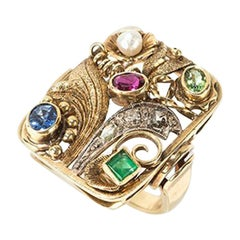 Ladies Gold Ring with Different Gemstones, 1920s