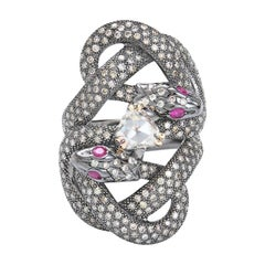 Sylvie Corbelin  One Of A Kind Gold and Silver Double Snake Ring with Diamonds