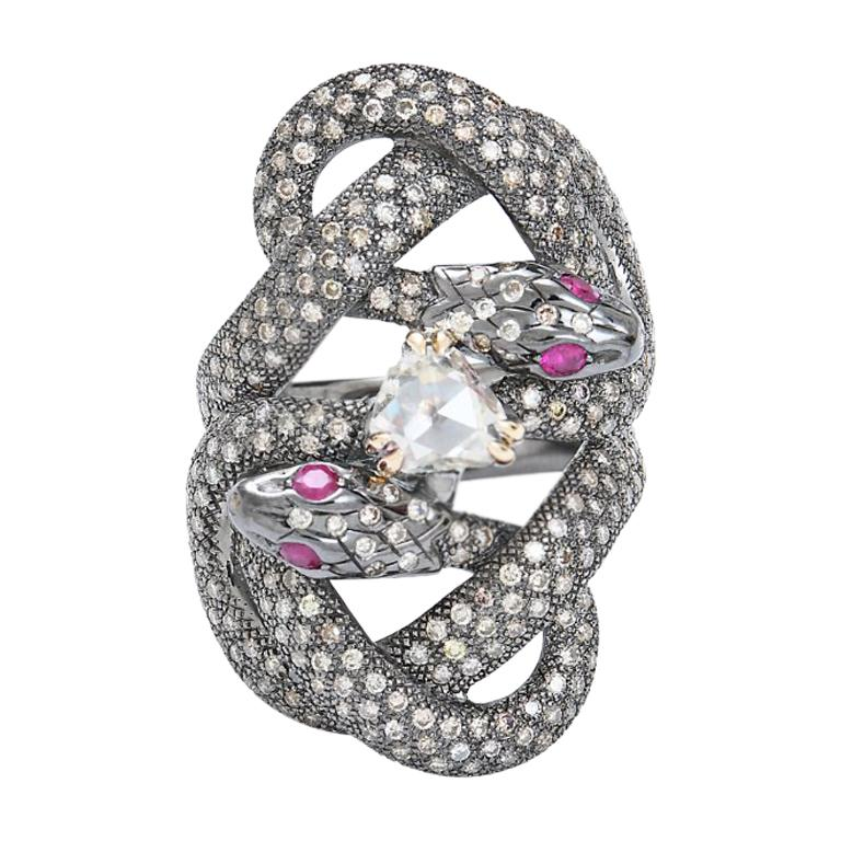 Sylvie Corbelin  One Of A Kind Gold and Silver Double Snake Ring with Diamonds For Sale