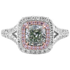 GIA Certified White Gold Cushion Cut Fancy Green Diamond Ring, 1.74 Carat