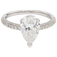 GIA Certified White Gold Pear Cut Diamond Ring, 2.45 Carat