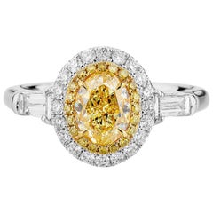 GIA Certified White Gold Oval Fancy Yellow Halo Diamond Ring, 1.71 Carat