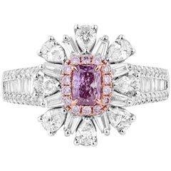 GIA Certified Gold Fancy Pink Radiant Cut and White Diamond Ring, 1.44 Carat