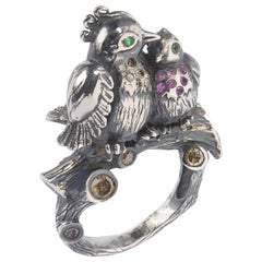 Sylvie Corbelin Limited Edition of Silver Love Birds Ring