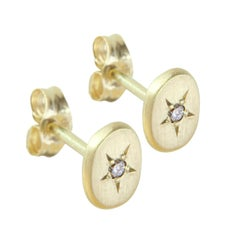Sweet Pea 18k Yellow Gold Oval Stud Earrings with Diamond Set Stars