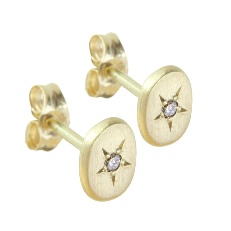Sweet Pea 18k Yellow Gold Oval Stud Earrings with Diamond Set Stars For Sale