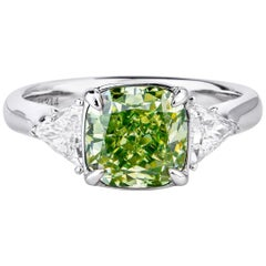 GIA Certified White Gold Fancy Green Cushion Cut Diamond Ring, 2.97 Carat
