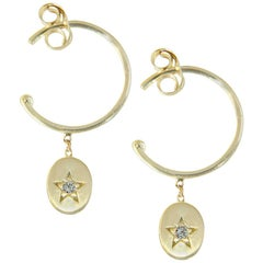Sweet Pea 18k Yellow Gold Hoop Earrings with Dangling Diamond Set Stars