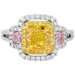 GIA Certified Gold Fancy Intense Yellow Cushion Cut Diamond Ring, 2.51 Carat