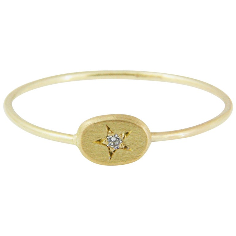 Sweet Pea 18k Yellow Gold Oval Ring With Diamond Set Star
