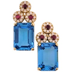 18 Karat Yellow Gold, Blue Topaz '28.51 Carat', Ruby '0.83 Carat', Earrings