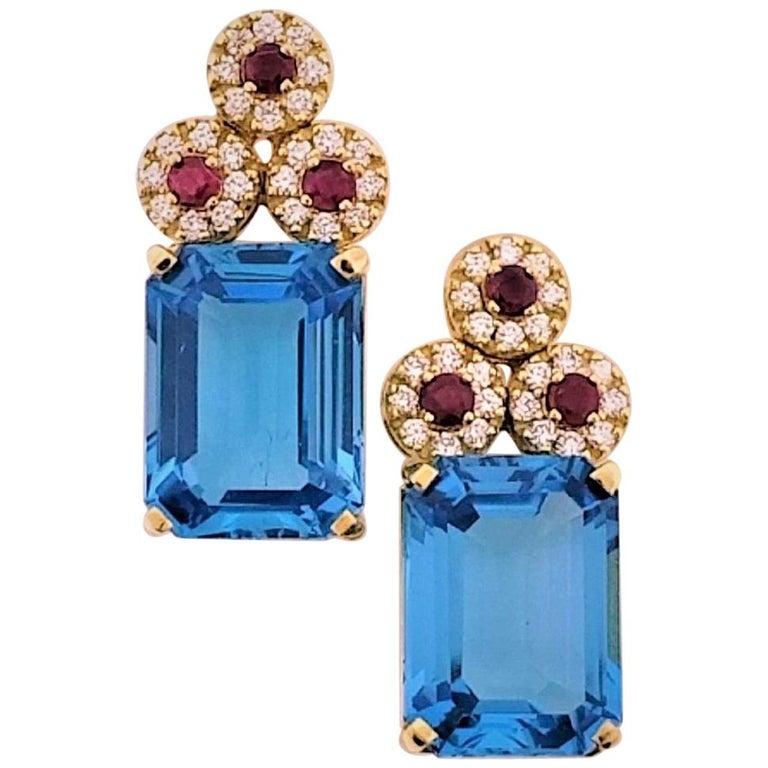 18 Karat Yellow Gold, Blue Topaz '28.51 Carat', Ruby '0.83 Carat', Earrings For Sale