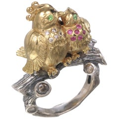Sylvie Corbelin Patinated Silver and Vermeil Love Birds Ring with Diamonds