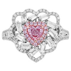 GIA Certified White Gold Fancy Pink Heart Cut Diamond Ring, 1.30 Carat