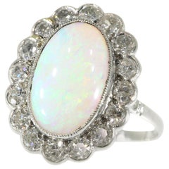 Vintage Diamond Opal Engagement Ring with a Total Carat Weight of 5.12
