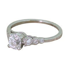 Art Deco 0.54 Carat Old Cut Diamond Platinum Engagement Ring