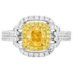 GIA Certified White Gold Fancy Vivid Yellow Cushion Cut Diamond Ring, 1.82 Carat