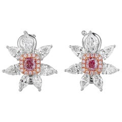 GIA Certified White Gold Flower Fancy Pink and White Diamond Earrings - 2.19 ct