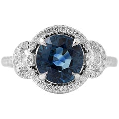 White Gold Oval Blue Sapphire Ring with White Diamonds, 3.88 Carat