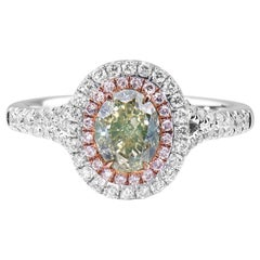 White Gold Oval Cut Green Diamond Ring, 1.47