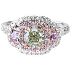 GIA Certified White Gold Cushion Cut Green Diamond Ring, 1.92 Carat