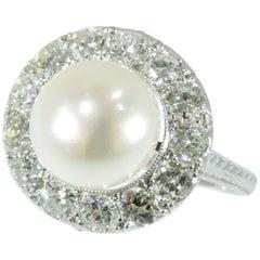 Diamond and Pearl Platinum Estate Engagement Ring