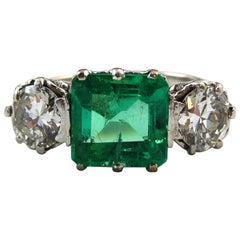 1.85 Carat Emerald and Diamond Three-Stone Engagement Ring, White Gold