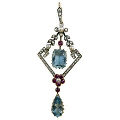 Antique Diamond, Ruby, Aquamarine Pearl Pendant, circa 1920s