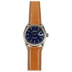 Rolex Stainless Steel Blue Brick Dial Datejust Wristwatch, 1960s