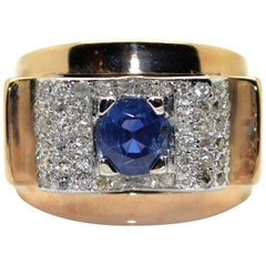 1940s French Sapphire and Diamond 18 Karat Yellow Gold and Platinum Tank Ring