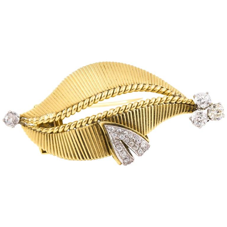 Cartier Gold Diamond Brooch For Sale