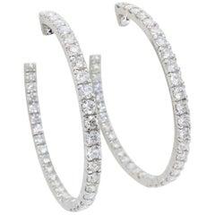 5.70 Carat Inside Out Diamond Hoop Earrings