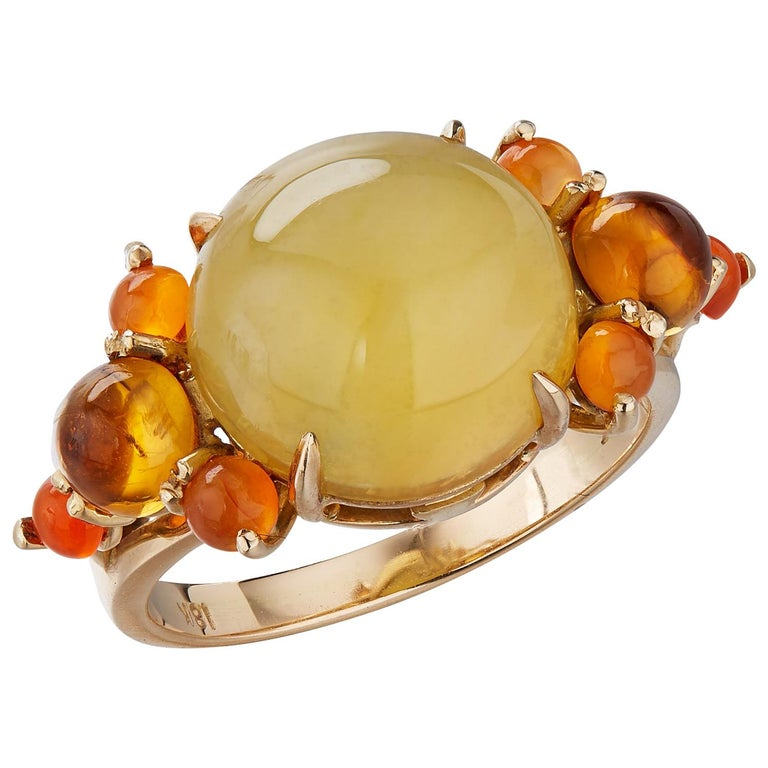 Daria de Koning Lemon Moonstone, Carnelian, Citrine Ring For Sale