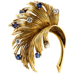 Vintage Tiffany & Co. Leaf Brooch with Sapphires and Diamonds
