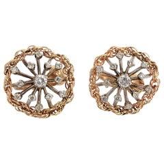 Diamond Starburst Gold Rope Earrings